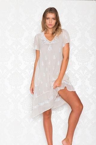 Kalypso 7 - Wemberly Dress in Ecru with White - My Friend Alice