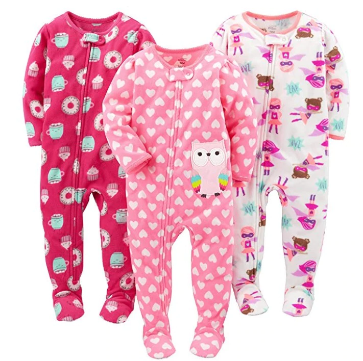 Carters Baby Girls 2-Pack Loose Fit Fleece Footed Pajamas
