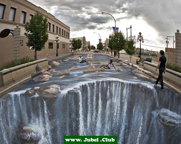 3D Straßenkunst: Wasserfall