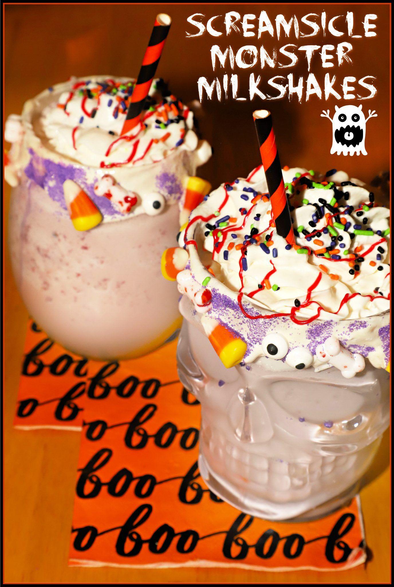 Screamsicle Monster Milkshakes #HalloweenTreatsWee