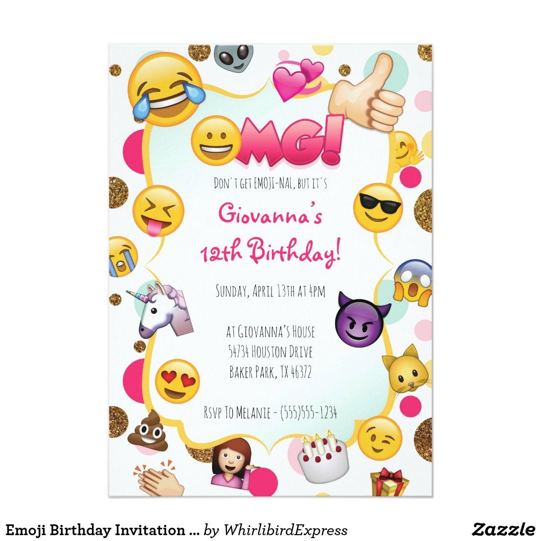 Small Crop Of Emoji Birthday Invitations