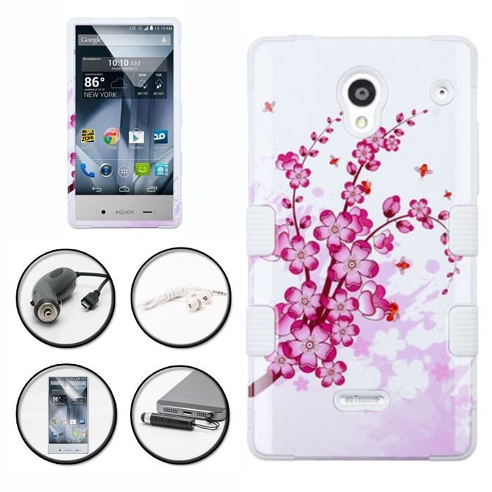 PINK SPRING FLOWER DUO LAYER COVER RIBCAGE CASE SHARP AQUOS CRYSTAL + ACCESSORY in Cell Phones & Accessories | eBay