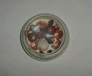 Vintage Magnifying Dome Beaded Glass Paperweight Amber Seashells Acorns Stones