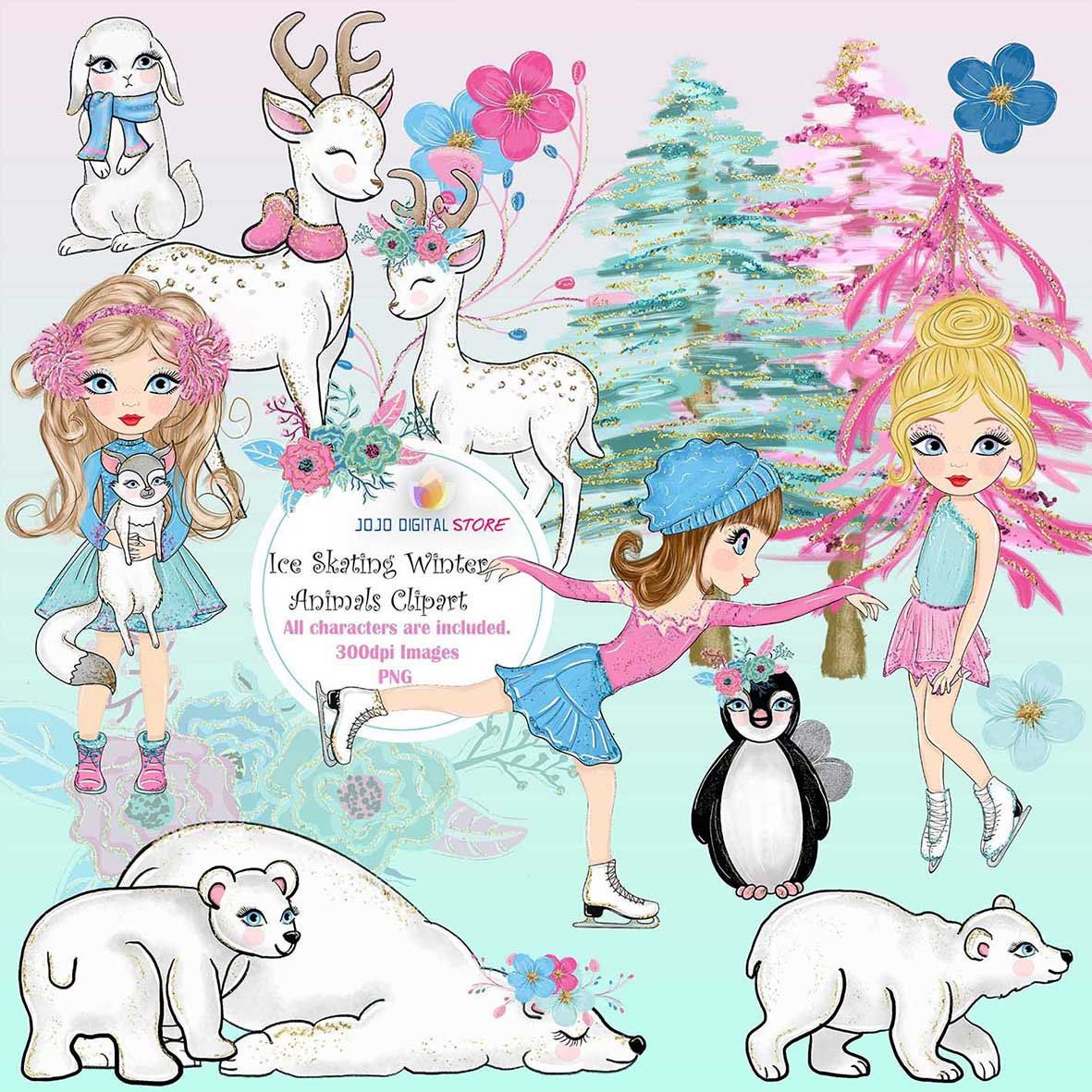Ice Skating Clipart, Graphics, Watercolor Winter Animals