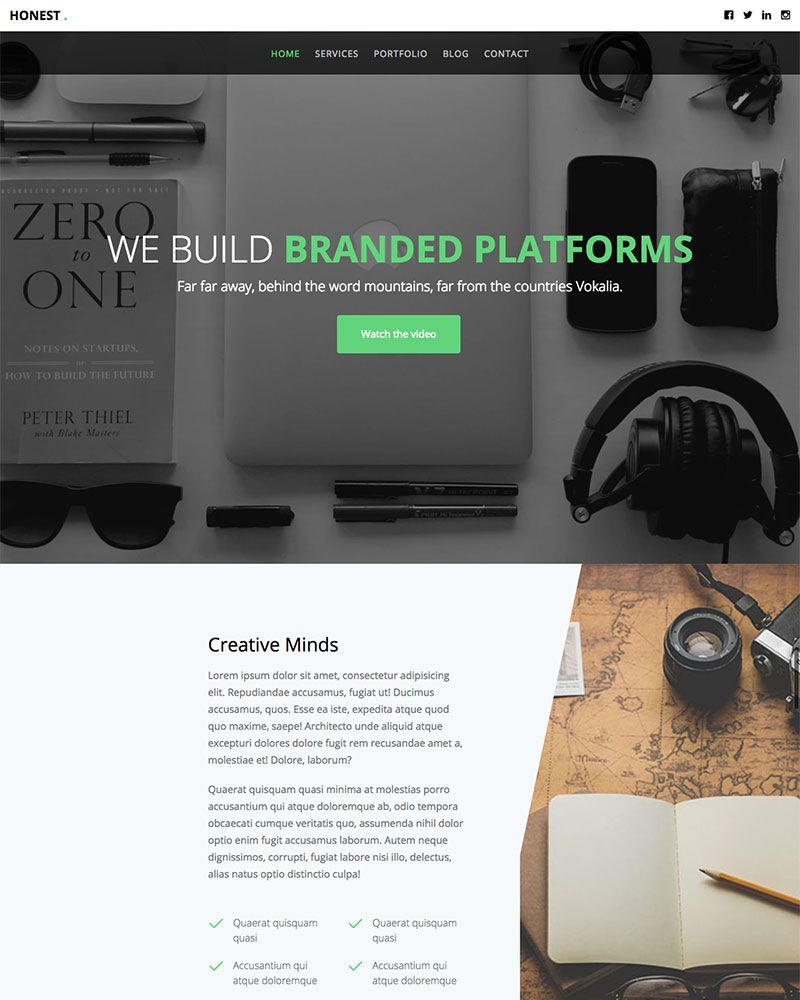 Honest: Free Website Template Using Bootstrap Multi-purpose Template ...