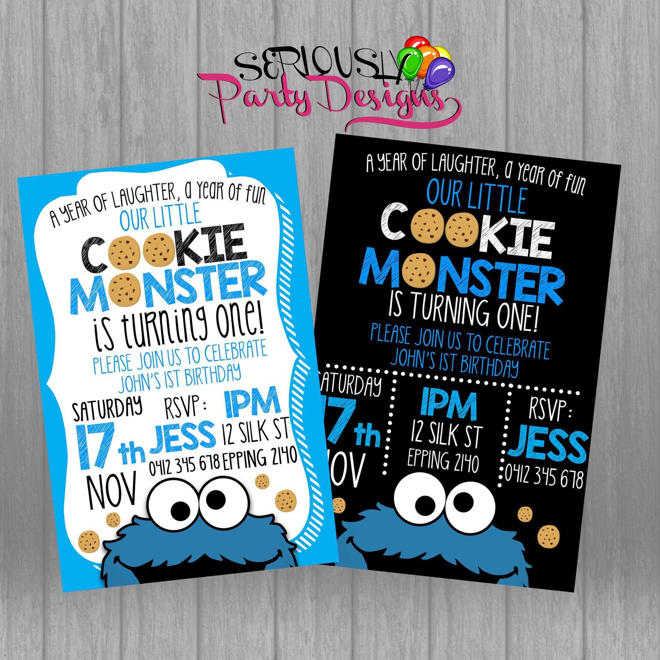 Cookie Monster Birthday Invite, Cookie Monster Invitation, Cookie ...