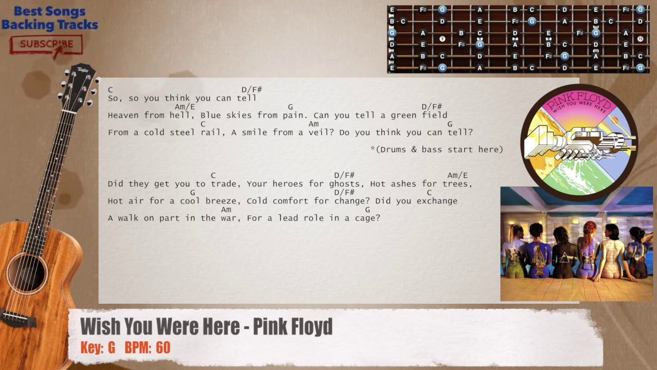 Wish You Were Here Pink Floyd Guitar Backing Track With Chords And