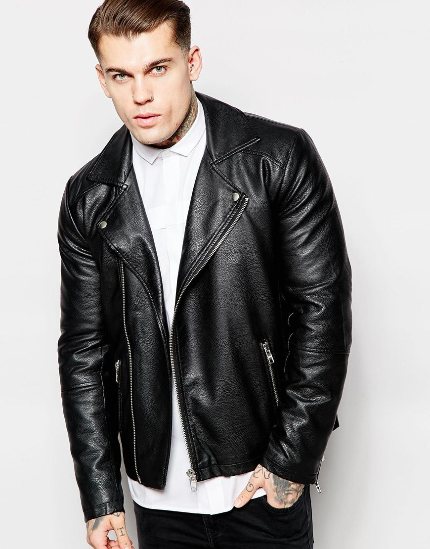 Asos black leather jacket mens
