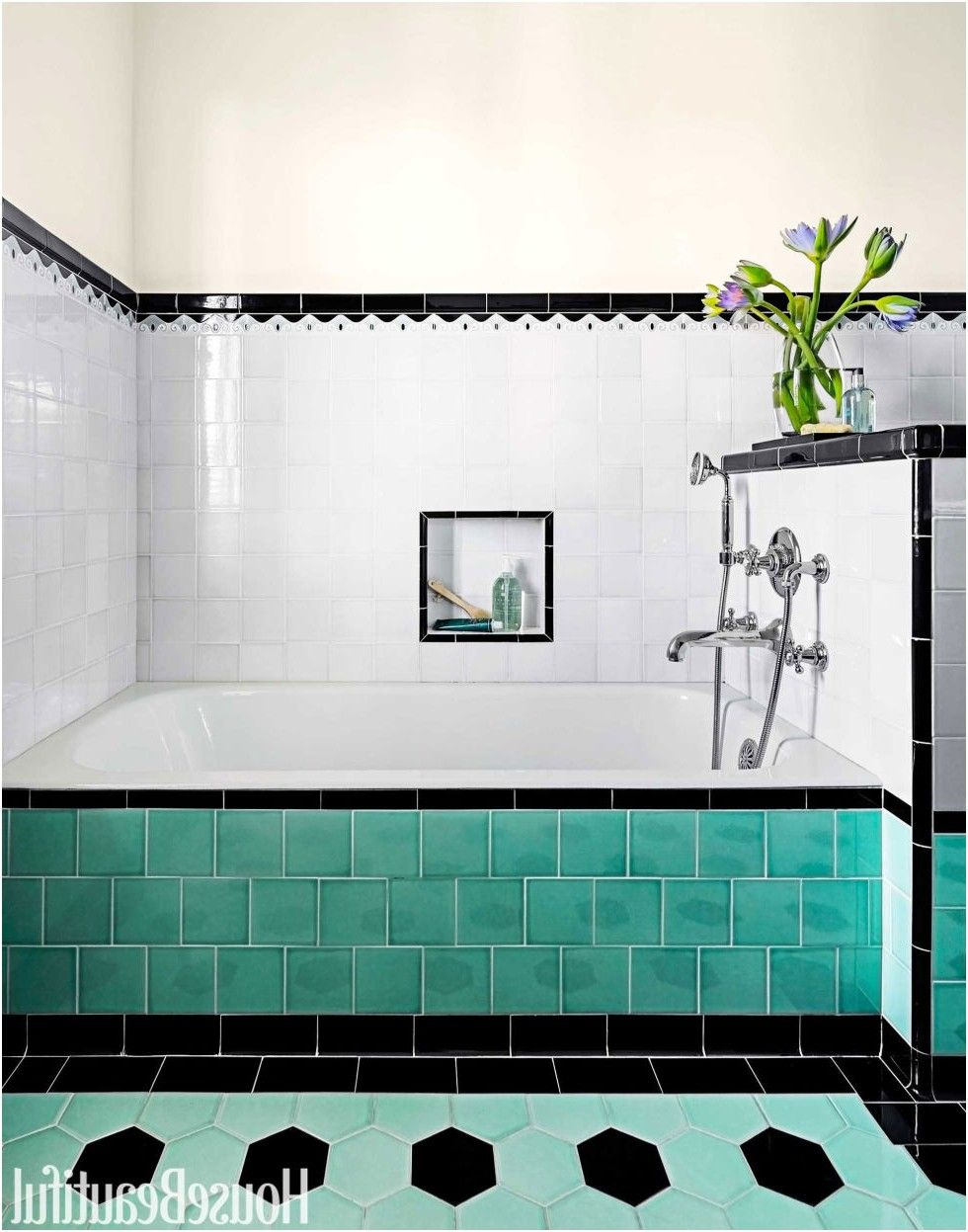 bathroom with colorful tile 1930s bathroom design from 1930S ...