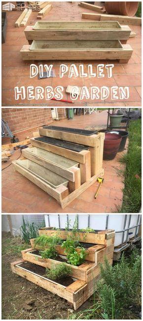 Diy Pallet Stairs Planter Pallets Garden Herb Garden Pallet Pallet Stairs