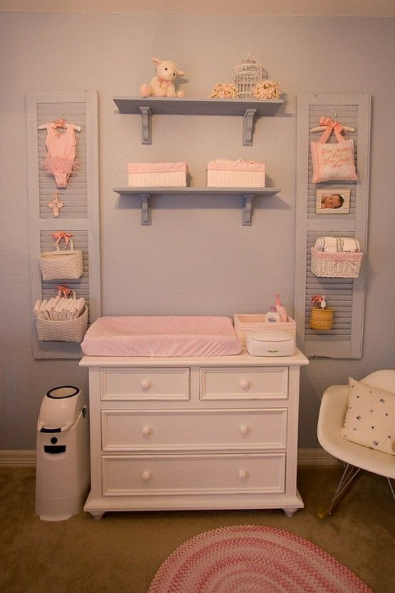 These are the shutters in my girls' nursery.  We've loved having the diaper storage off of the changer surface, but close by.  @Therese Göterheim by delia