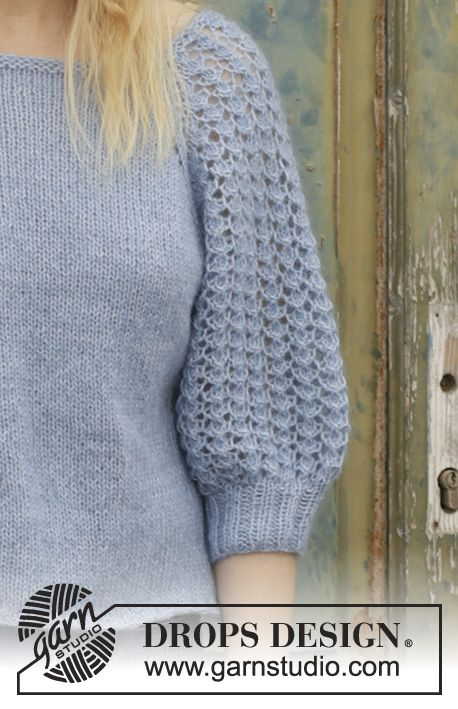 Jersey con raglán y patrón de calados en las mangas, tejido de ...