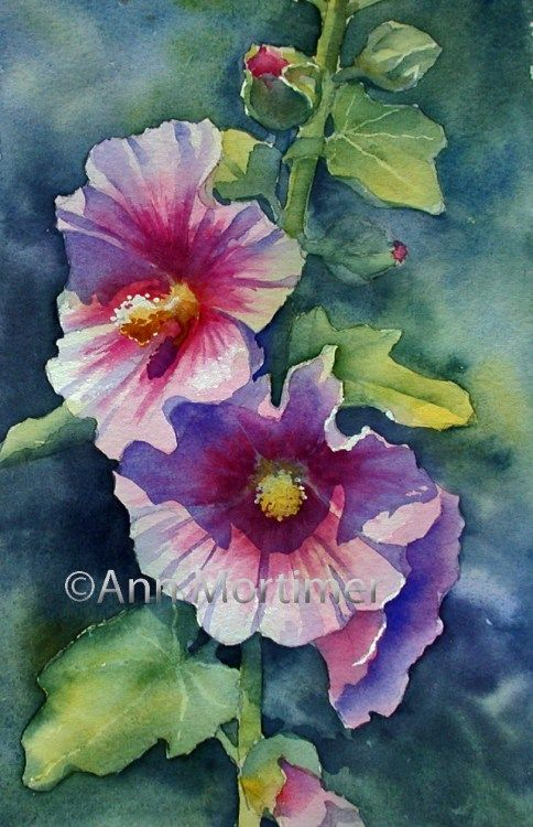 Sunny Pink Hollyhock Watercolor Art Watercolor Paintings Painting