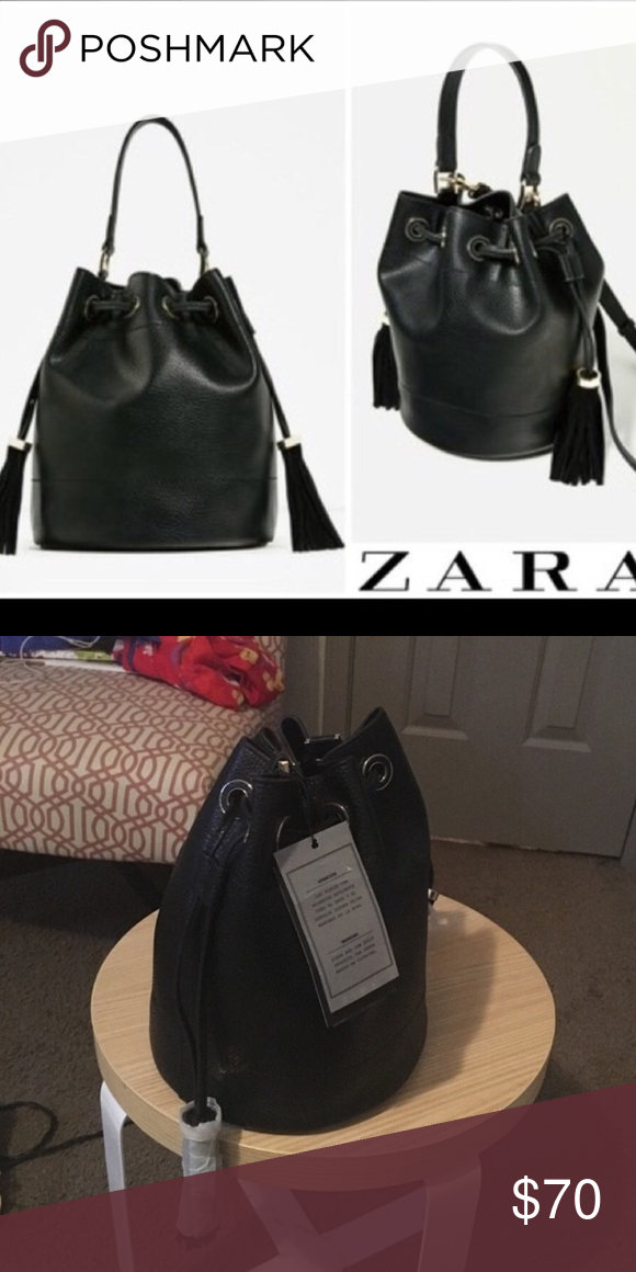 Zara authentic leather bag Real leather bucket bag new with tags never worn Zara  Bags e7aca98dd3