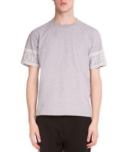 Logo-Print Short-Sleeve T-Shirt, Light Gray