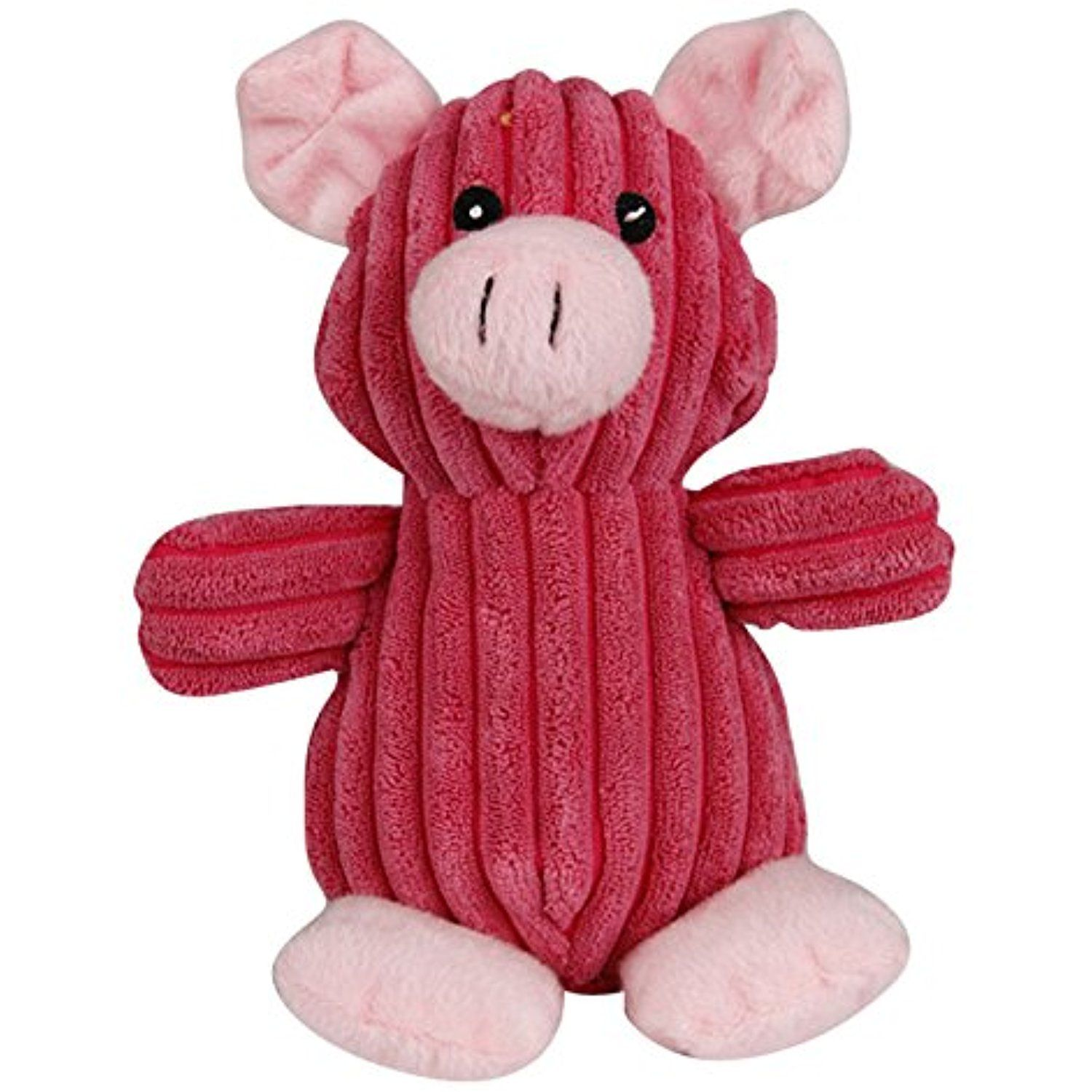 Dogloveit Corduroy Animal Pig Shape Squeaky Dog Toy Pink 9 Inch