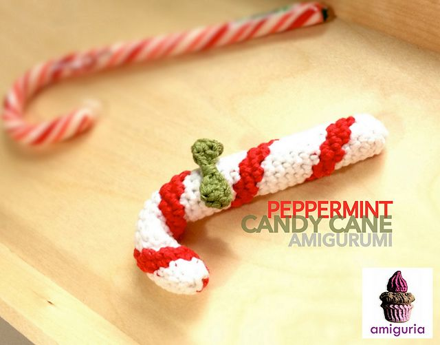 "Peppermint Candy Cane - Free Amigurumi Crochet Pattern - PDF Format - Click ""download"" or ""free Ravelry download"" here: http://www.ravelry.com/patterns/library/peppermint-candy-cane-amigurumi"