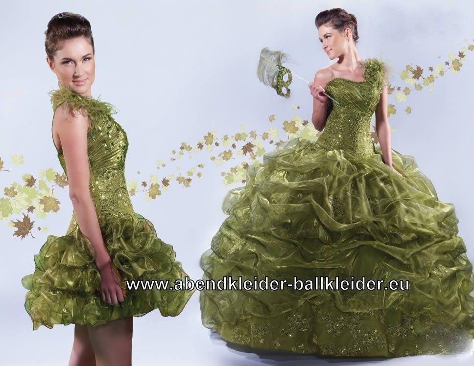 Grünes One Shoulder Abendkleid Ballkleid Brautkleid