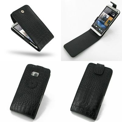 PDair Leather Case for The New HTC One 801e 801s - Flip Top Type (Black/Crocodile Pattern)