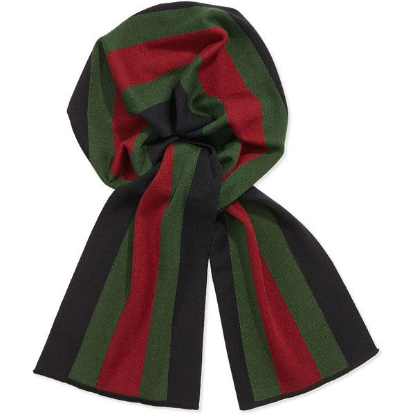 530927380c20 Gucci Crook Knit Striped Scarf ( 285) ❤ liked on Polyvore featuring  accessories