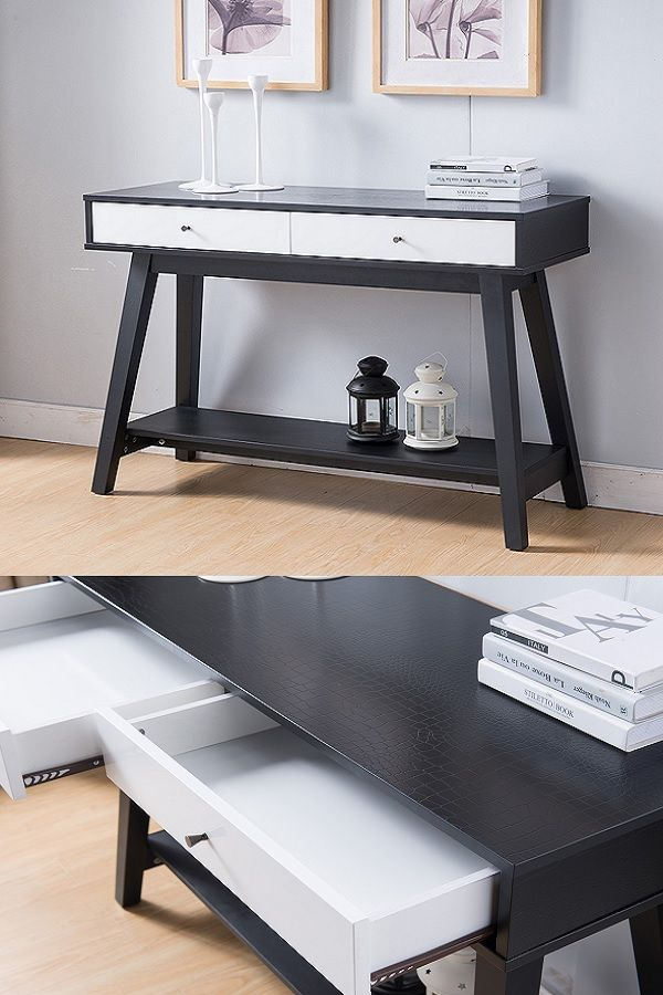 161620 Smart Home Faux Croc Black Glossy White Sofa Console Table Features A Two Toned Finish In Faux Croc Black And White Sofas Console And Sofa Tables Home