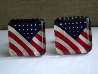 Artsy American Flag Glass Tile Cuff Links - 2.00 donated to Haiti relief