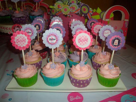 custom Barbie cupcake toppers