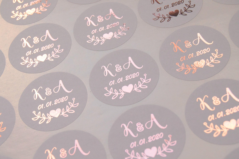Foil wedding stickers rose gold wedding stickers grey