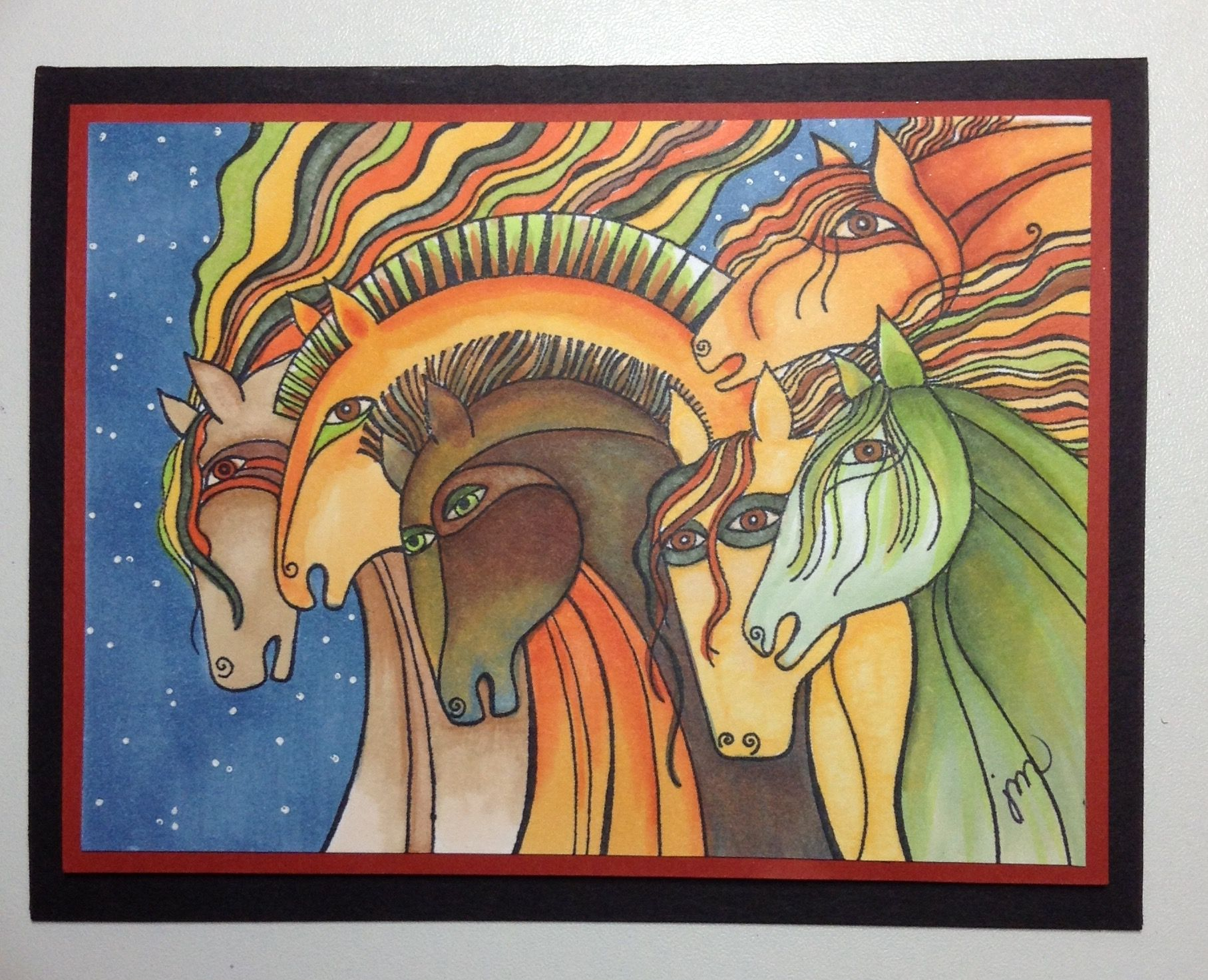 Stampendous Laurel Burch Stamp Card Using Copics