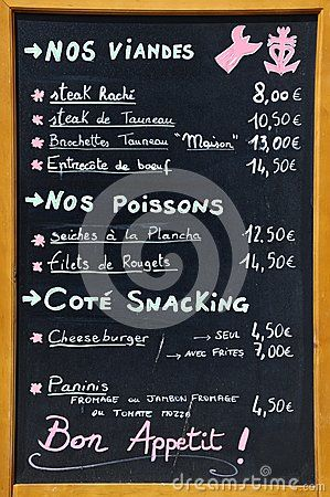 Simple Menu In French Including Prices In Euros  Google Search