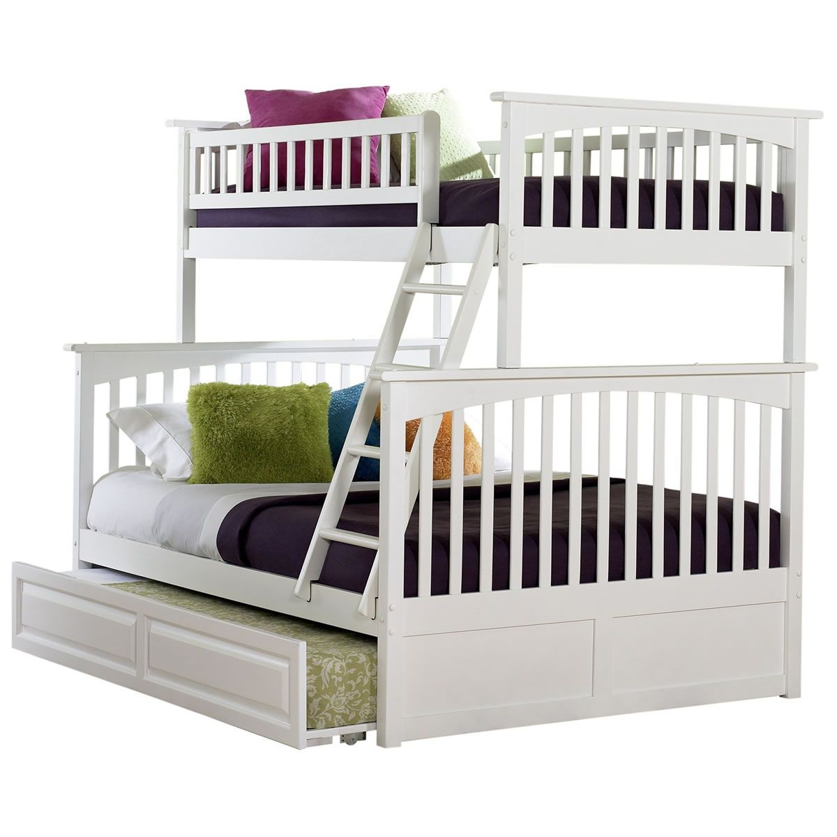 Loft bed with slide screws  Columbia TwinFull in Classic White with trundle option  työpöytä