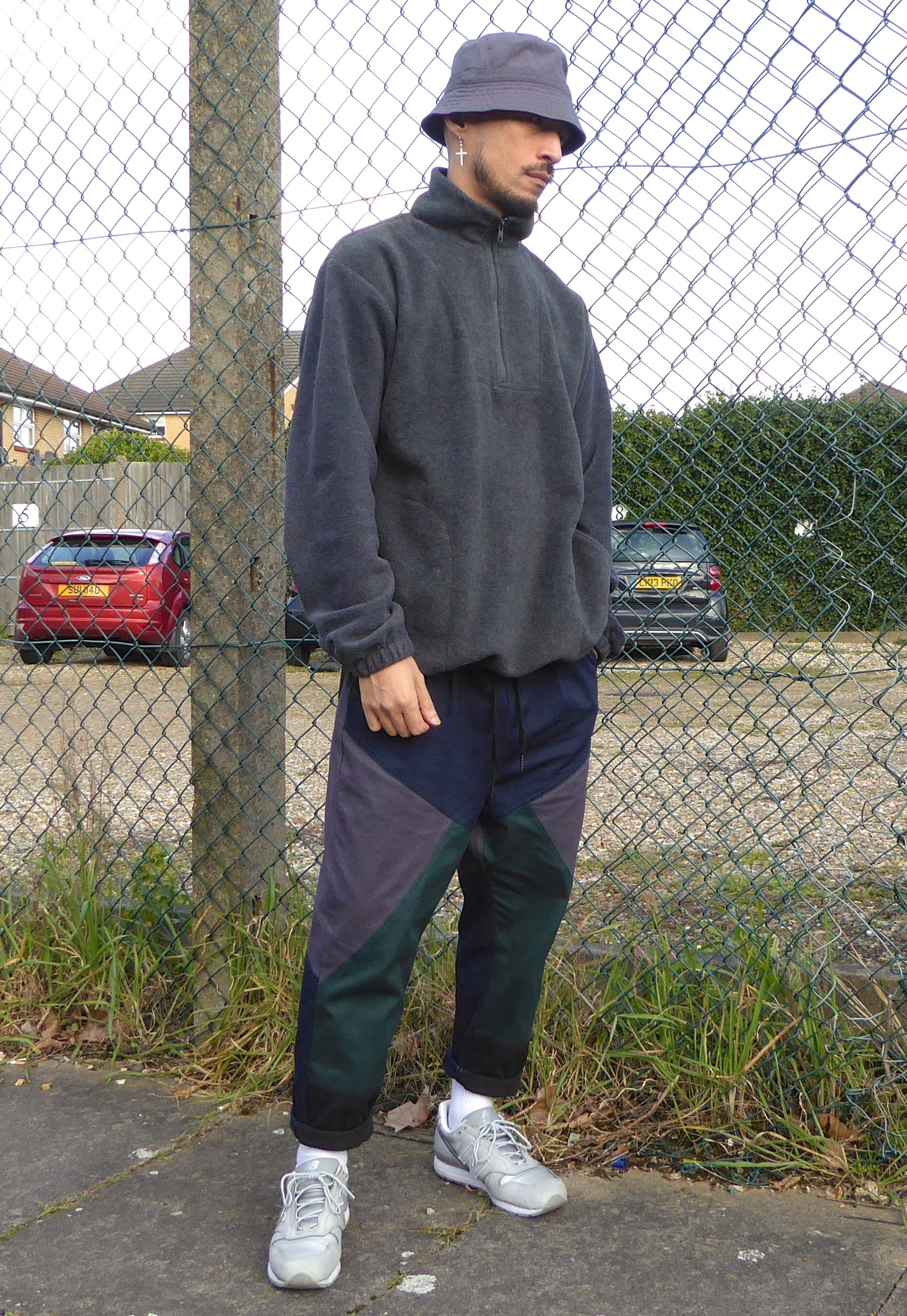Relaxed 90s Sport Casual Half Zip Fleece Colour Block Trousers