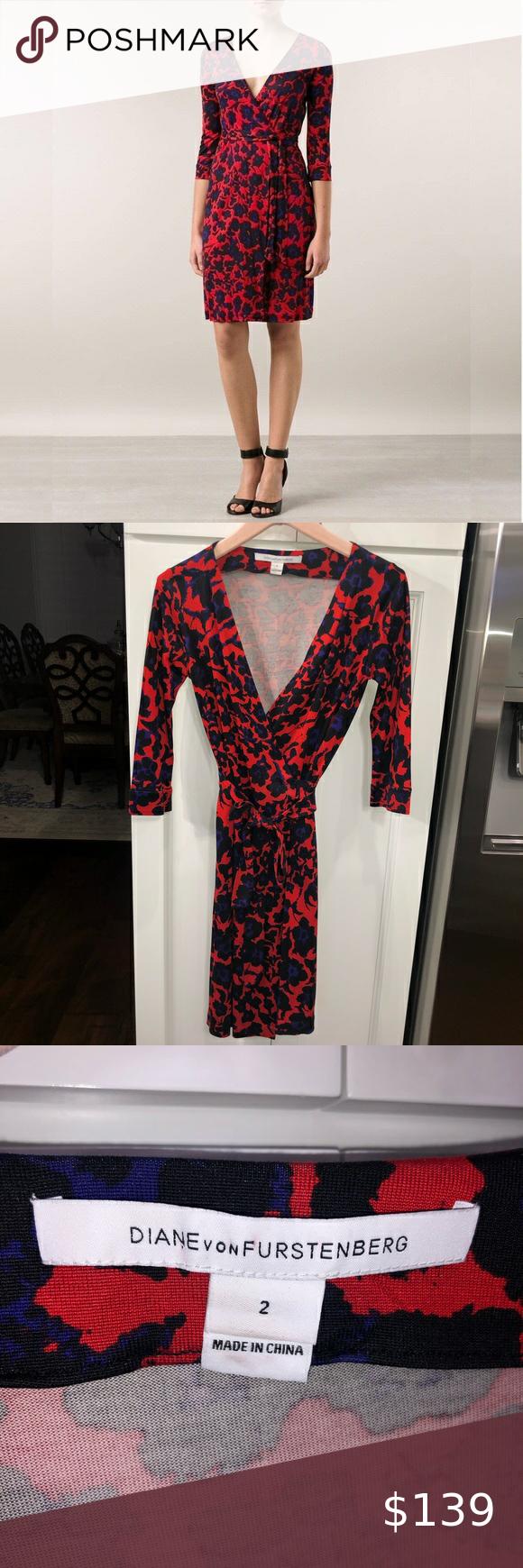 Size 2 Diane Von Furstenberg Wrap Dress Dvf Wrap Dress Clothes Design Printed Wrap Dresses [ 1740 x 580 Pixel ]