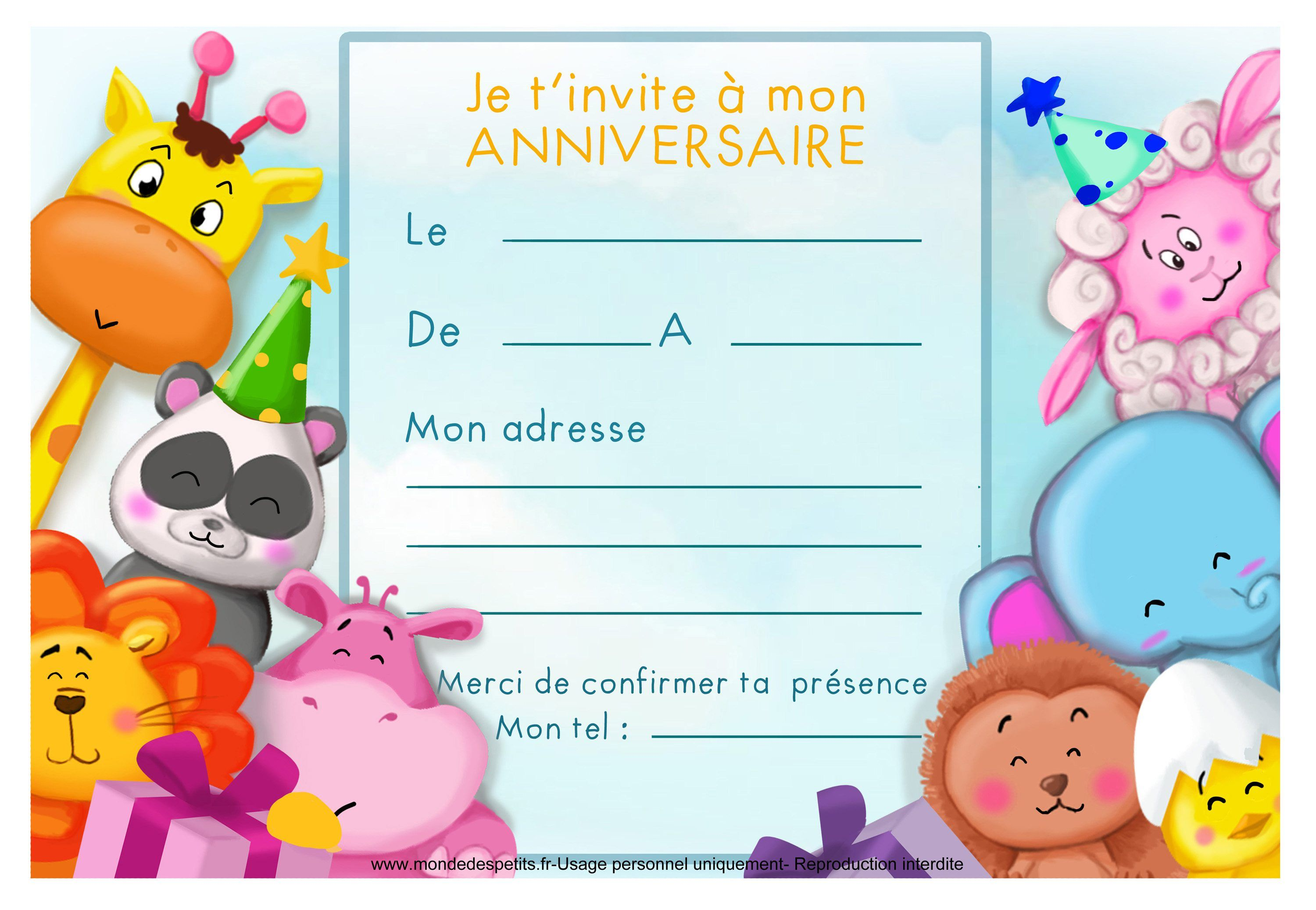 carte invitation anniversaire enfant : carte d invitation annivers… | Carte invitation ...