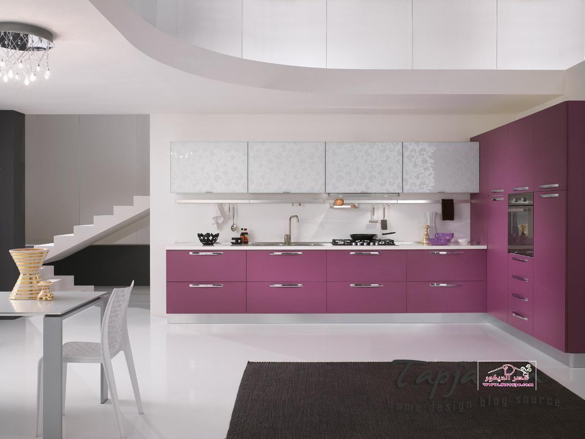 صور مطابخ الوميتال موف Kitchens Alumital In Purple قصر الديكور Purple Kitchen Cabinets Purple Kitchen Industrial Livingroom