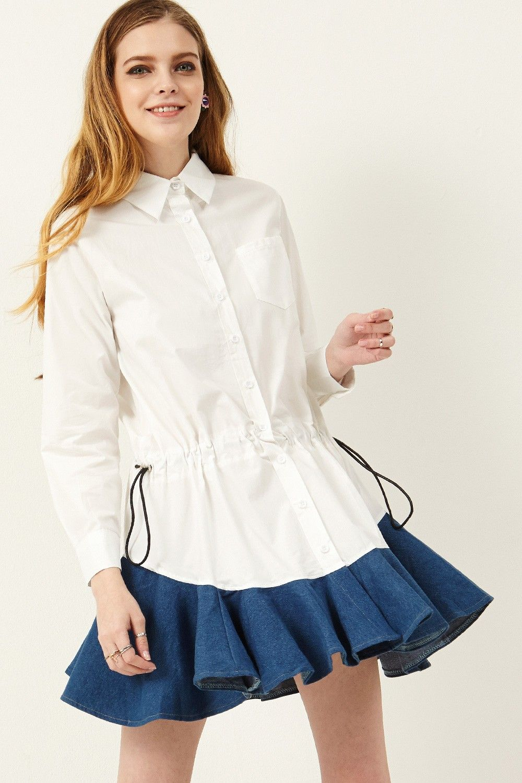 Mally Denim Mini Dress Discover the latest fashion trends online at storets.com #dresses #minidresses #denimdresses #fashion #ootd #storetsonme