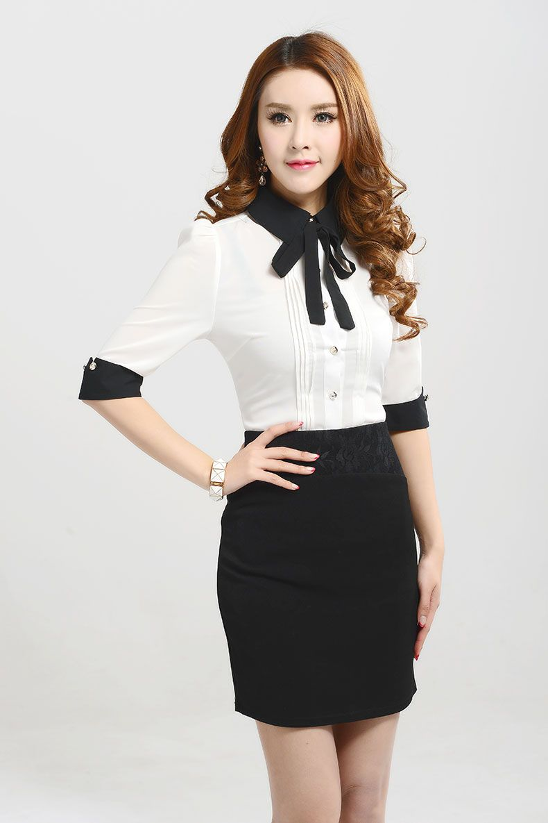 f74424716c6 Ladies Tops New 2015 Spring Summer Korean Fashion White Black Pink Blue  Half Sleeve Bow Tie Formal Blouses Women Office Shirts-in Blouses   Shirts  from ...