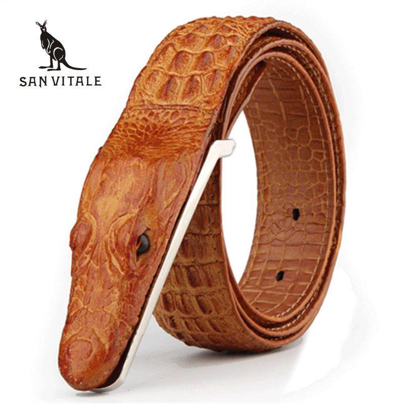 Genuine Cow Crocodile Leather Belt 3D Alligator Skin Shape Men Buckle Brown New