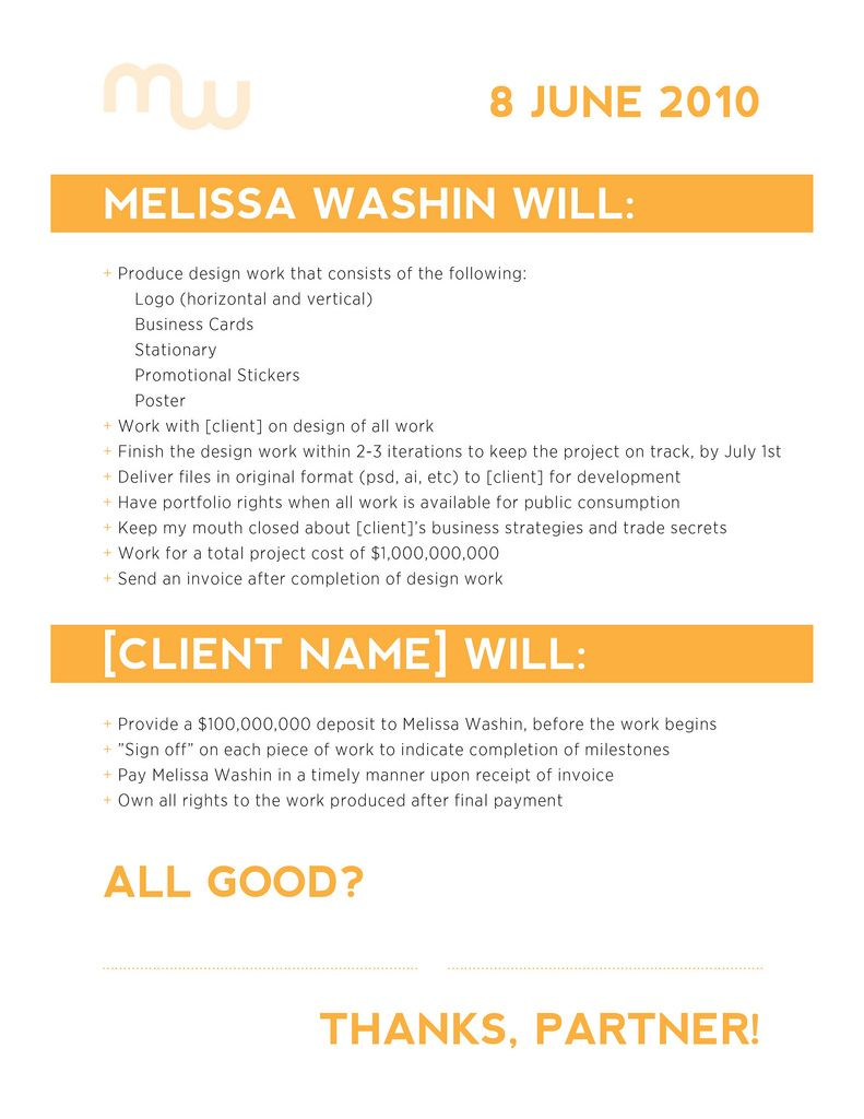 Freelance Design Contract Example | By Mwashin