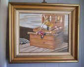 vintage Signed Framed Painting ~ Wooden tackle Box with Fishing lure ~ Pole ~ Nautical ~ Man cave