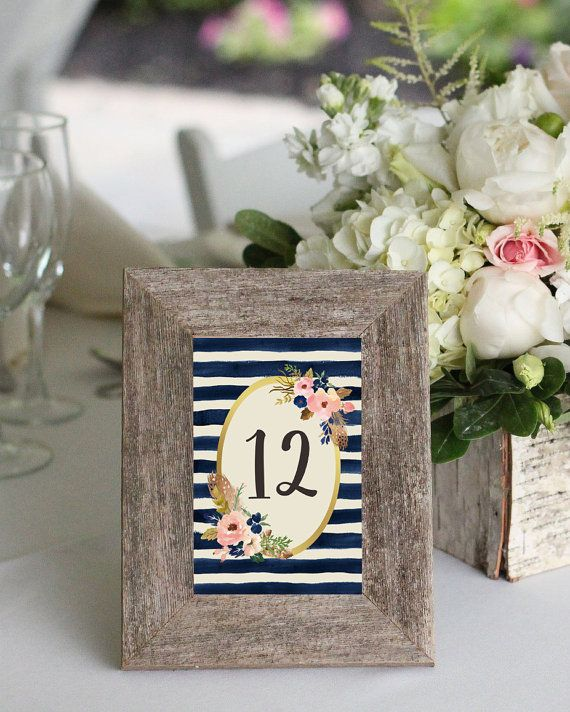 Printable Table Numbers Navy Table Numbers by PinkTranquilitie ...