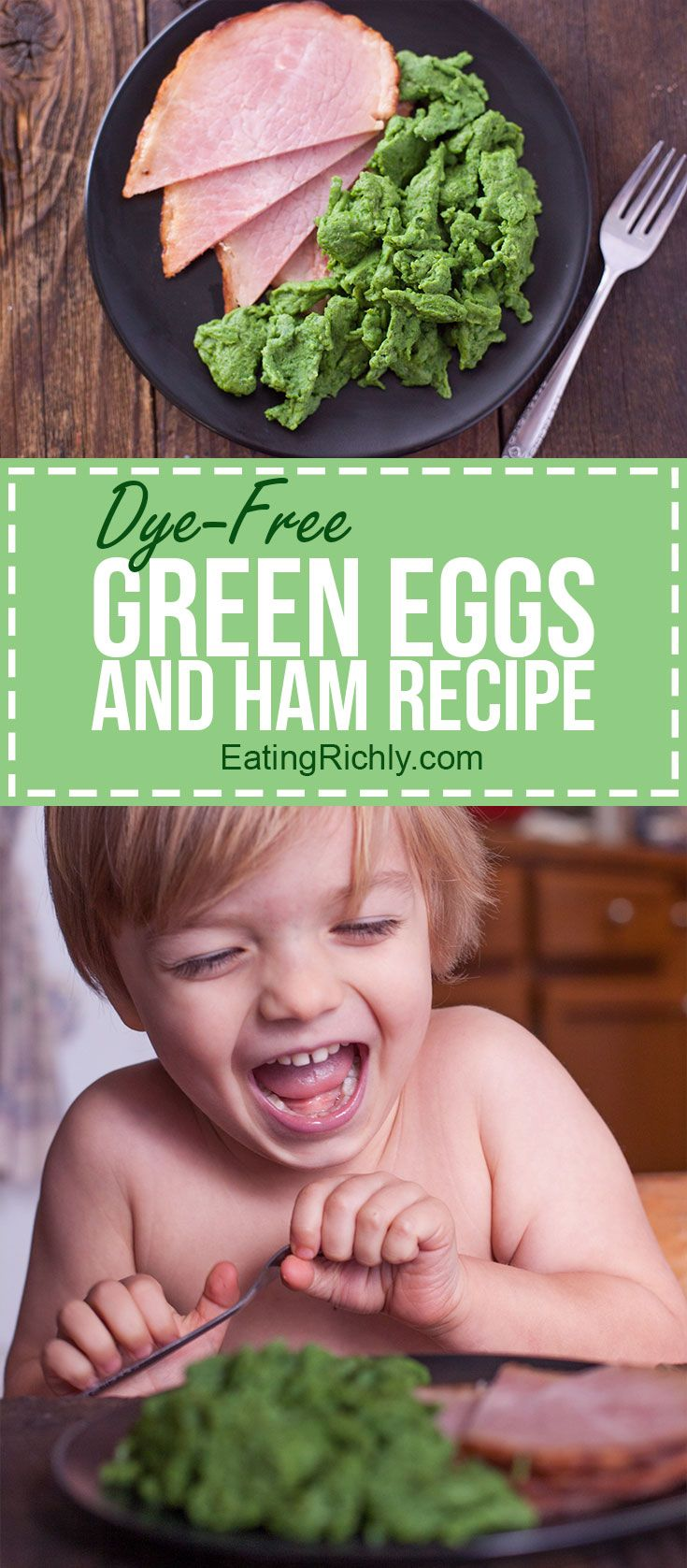 This naturally green eggs and ham recipe is a hit with kids and perfect for serving to your favorite Dr. Suess fan, or as a simple St. Patrick's Day breakfast. Totally dye-free! via @eatingrichly #greeneggsandhamrecipe