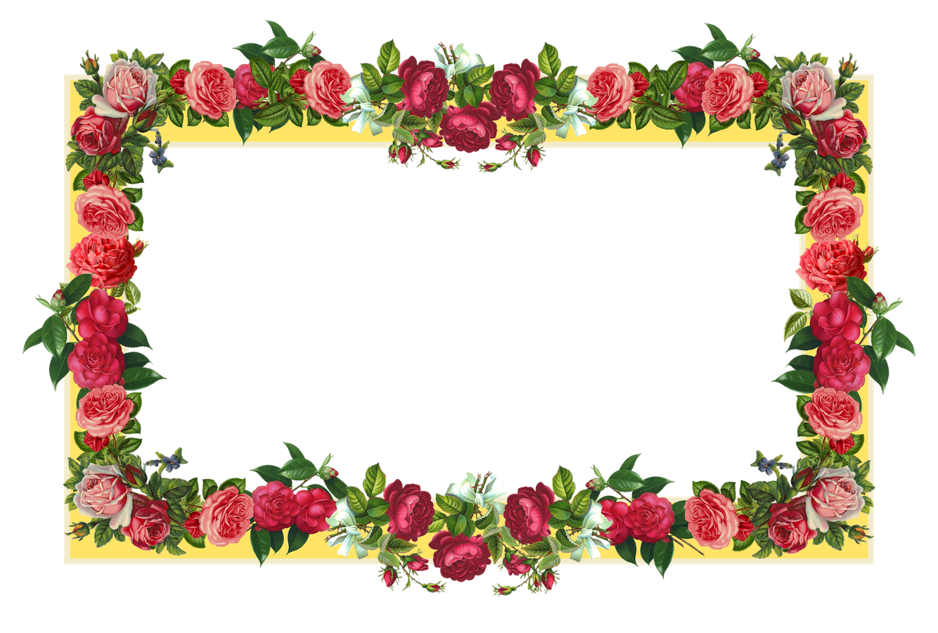 free yellow and red vintage rose frame AND vintage flower tag ...