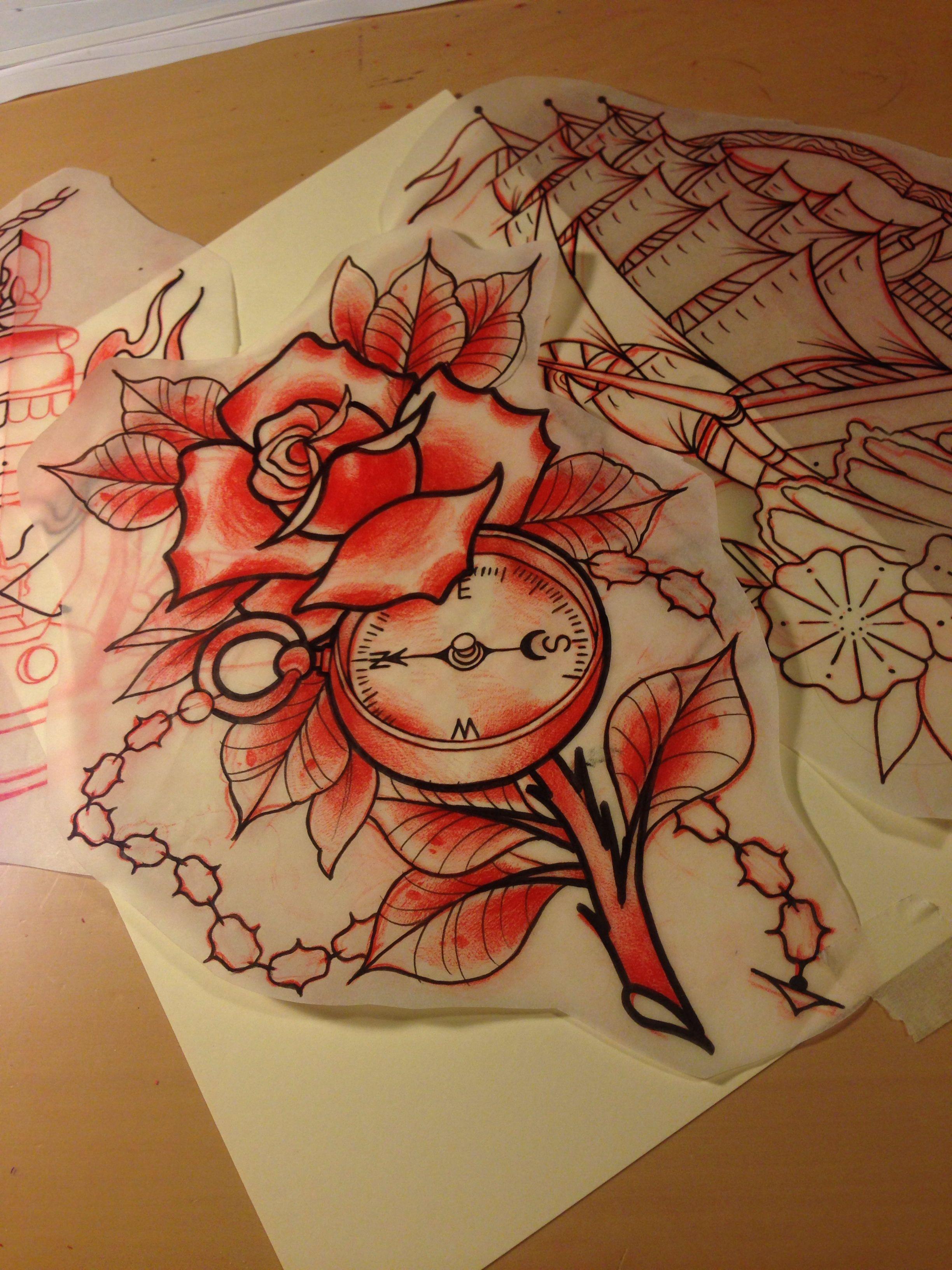 #flash #tattooflash #tattooart #sketch #draw #paint #traditional #tattoo #tattoos #traditionaltattoos #oldschool #compass #rose #flower