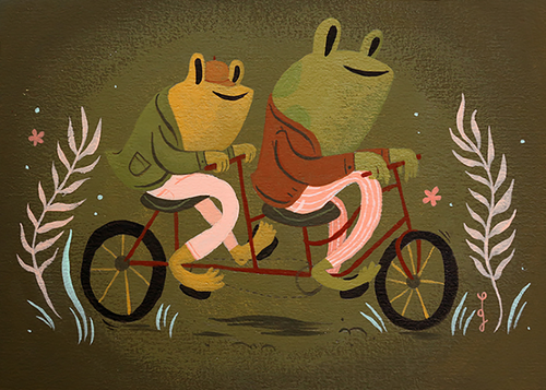Frog and Toad Are Friends 'I am happy. I am very happy. This morning when I woke up I felt good because the sun was shining. I felt good because I was a frog. And I felt good because I have you for a friend. I wanted to be alone. I wanted to think about how fine everything is.' It's the most perfect example of love and friendship I think I've ever read, and I immediately picked up my paintbrush and got to it.