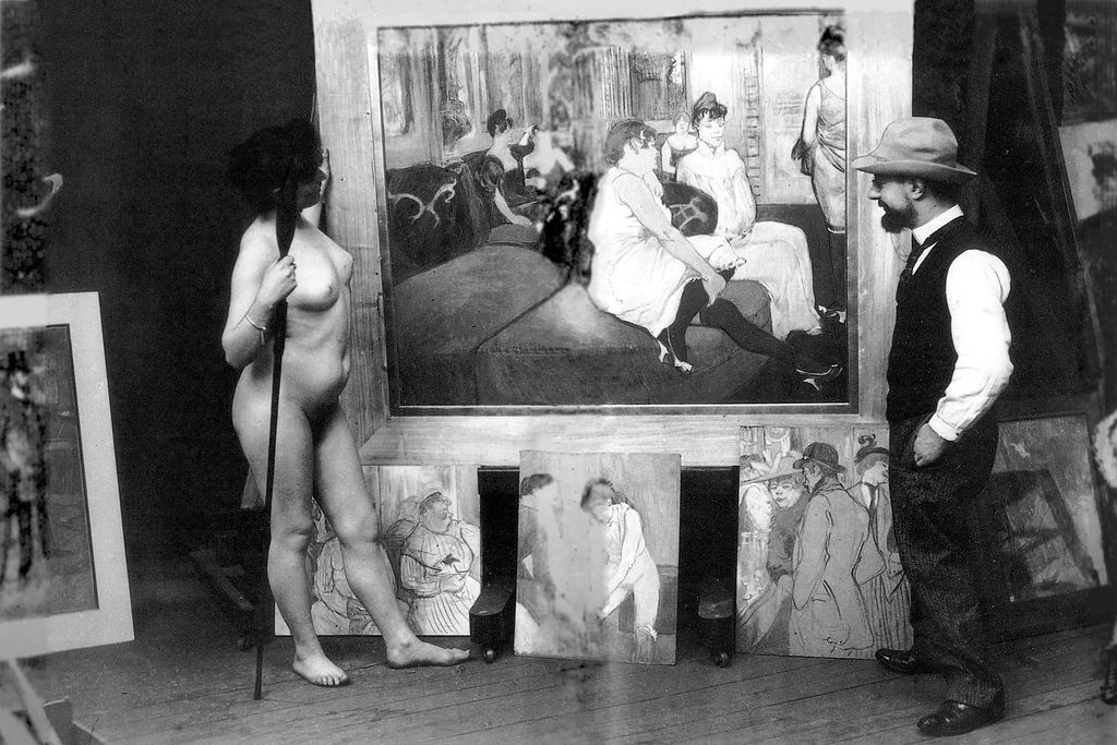 * Henri de Toulouse-Lautrec in his Workshop with a Nude Model. 1895. *  (photo by Maurice Guibert).