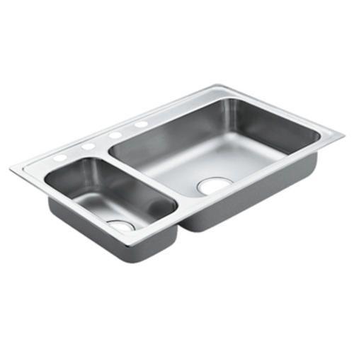 "Moen Excalibur Double Bowl Sink 22 Gauge 4 Hole 33""x22"" At Endearing Menards Kitchen Sinks Decorating Inspiration"