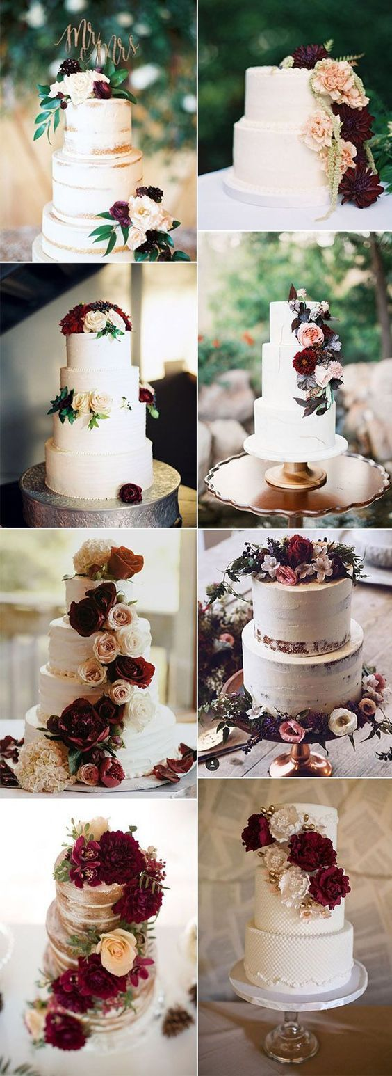 Wedding decorations at church november 2018 chic pretty burgundy wedding cake ideas weddingideas  November in