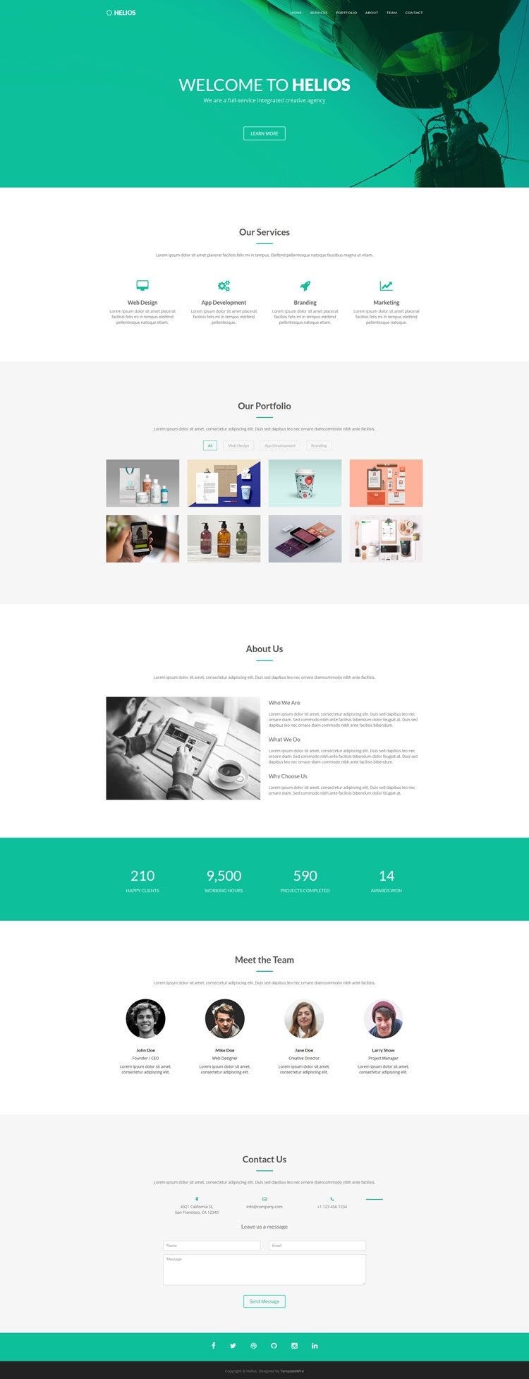 Helios - Free One Page Agency Template | TemplateWire | Pinterest ...