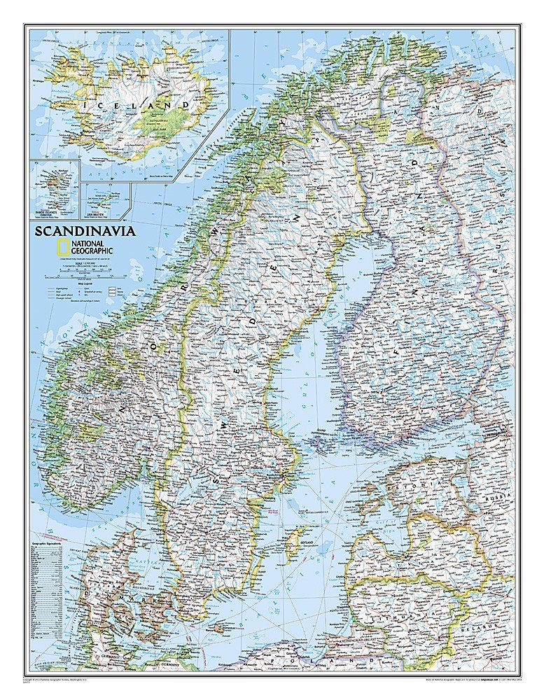 Scandinavia Classic Tubed By National Geographic Maps National - Buy map posters